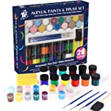 TBC The Best Crafts Acrylic Paint and Brush Painting Set for Kids 28 Pieces Painting Kit Vibrant Metallic Colors Acrylic Pain