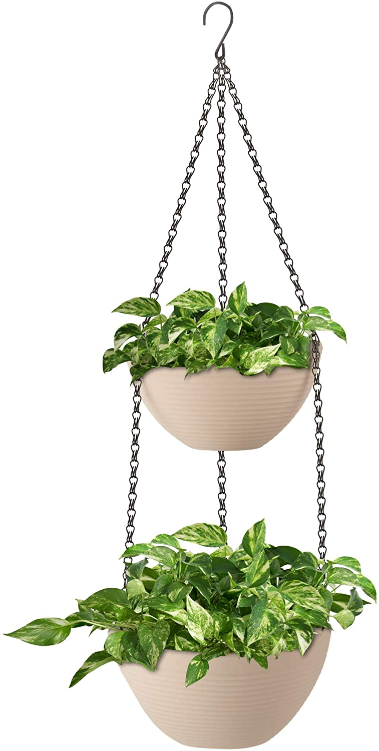 Amazing Creation 2-Tiered Hanging Planter Flowerpot for Indoor and Outdoor Plants, Decorative Hanging Garden Planter Pots for House, Porch, Balcony, Deck and Patio Displays, Supports Ferns and Flowers