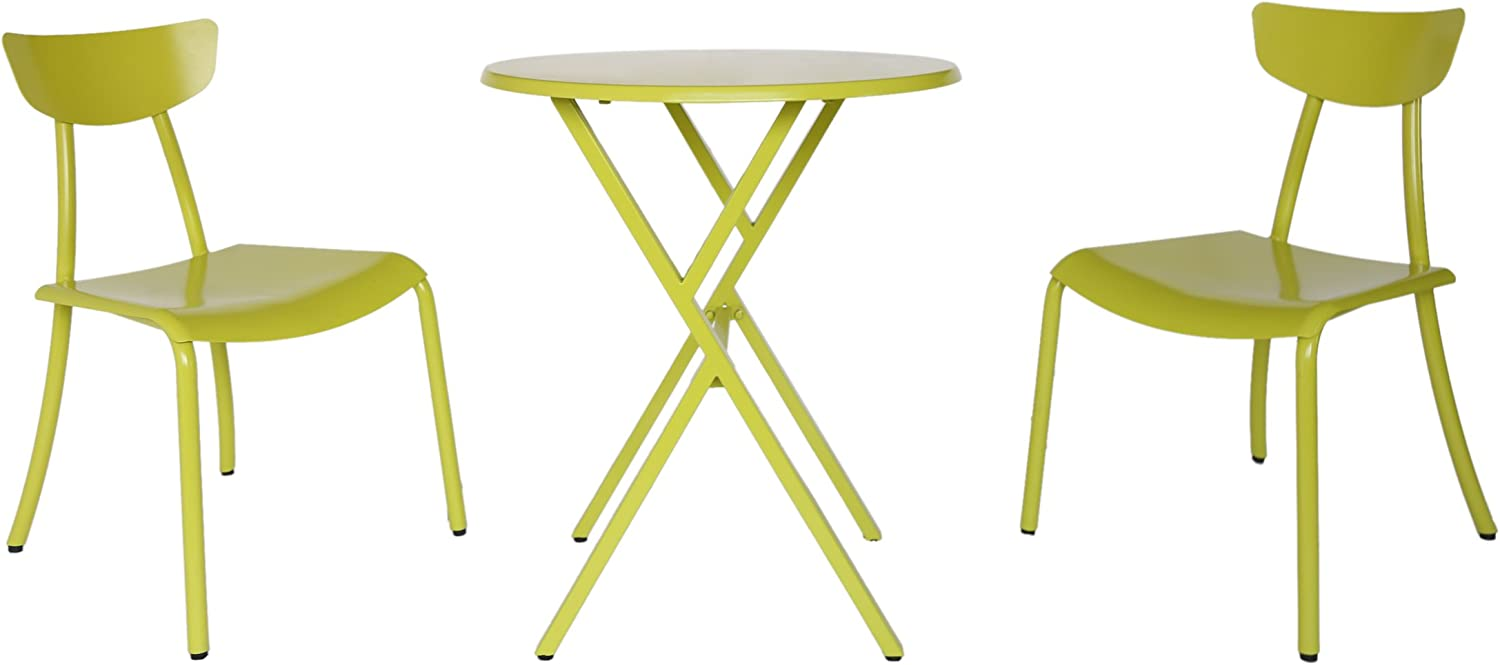 Christopher Knight Home 304872 Lucy Outdoor Bistro Set, Matte Lime Green