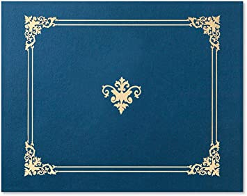 Blue With Gold Foil Above And Beyond Certificate Jackets 9 Inches X 12 Inches Folded 10 Count Forms Recordkeeping Money Handling Office Products