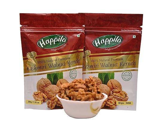 HappiloPremium 100% Natural Kashmiri Walnut Kernels, 200g (Pack of 2)