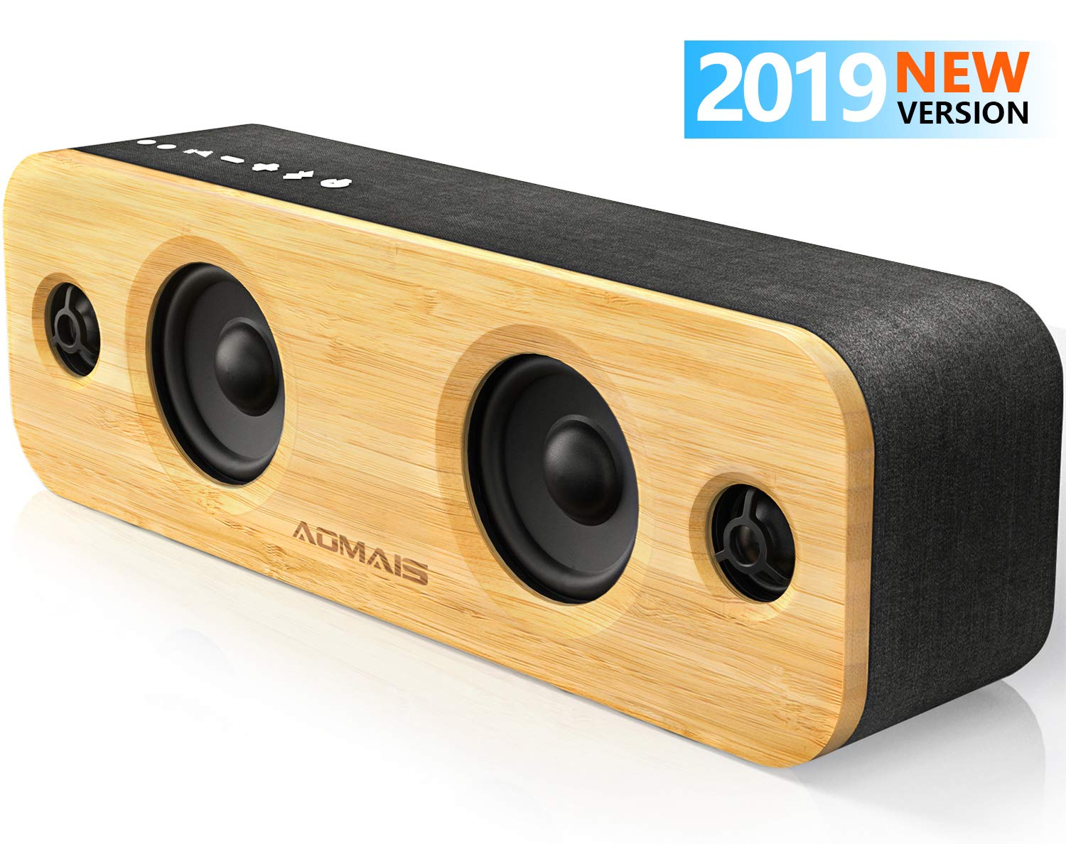 AOMAIS Life Bluetooth Speakers, 30W Loud Home Party Wireless Speaker, 2 Woofer & 2 Tweeters for Super Bass Stereo Sound, 100 Ft Bluetooth V5.0 and 12-Hour Playtime Subwoofer [ Imitation Bamboo Panel ] by AOMAIS