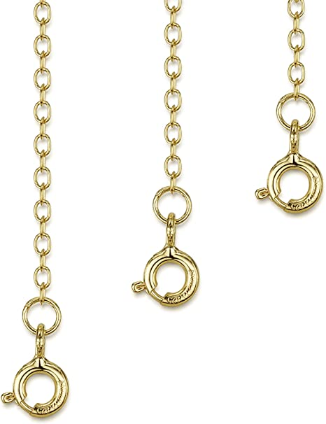 18ct Yellow Gold Safety Extension Chain 4 Bracelet Necklace Extender