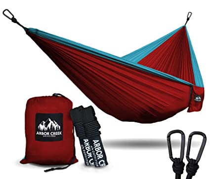 Best XL Double Camping Hammock - Heavy Duty and Ultralight Nylon Travel Hammock - Upgraded Carabiners Portable Hammock with Tree Straps - Indoor & Backyard Hammock -Easy Setup Hammock - Holds 500 lbs!