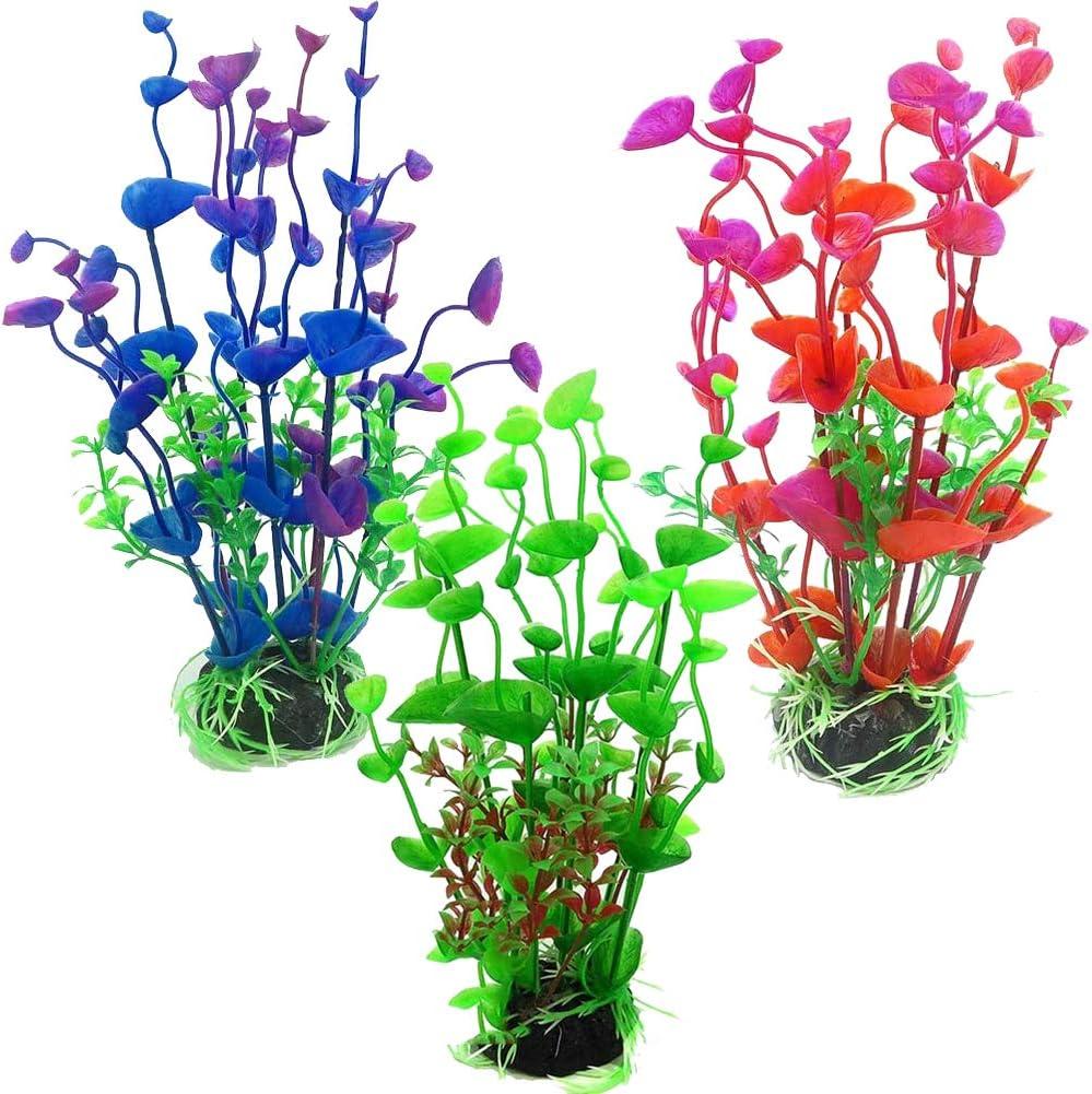 Plantas Planta De Acuario,QSXX 3 Piezas Plantas de Acuario Artificialmente Elegante y Hermosa Plantas De Plástico Para Decoración De Acuarios Para Pecera,Decoración Del Hogar Acuario Artificial