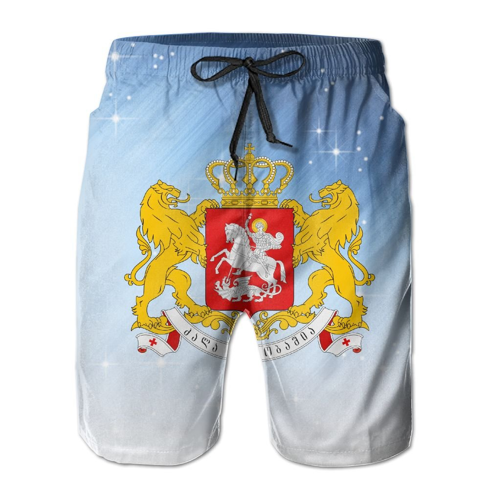 Qinf New Cartoon Fashion Greater Coat Of Arms Of Georgia Summer Beach Pants Casual Shorts For Man