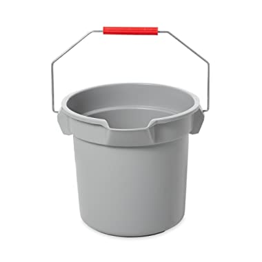 Rubbermaid Commercial 14 Qt BRUTE™ Heavy-Duty, Corrosive-Resistant, Round Bucket, Gray (FG261400GRAY)