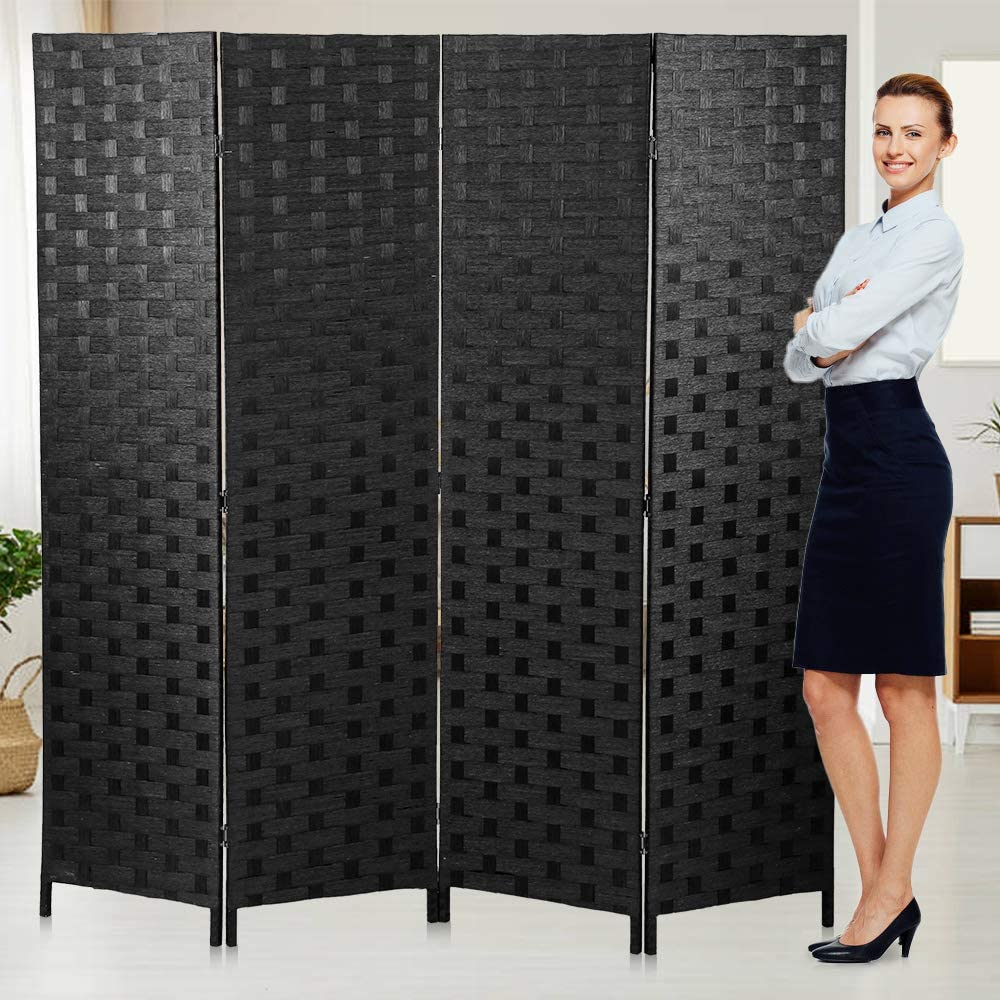 Room Dividers Privacy Screen Room Panel Folding Screens 4 Panel Partition Wall 6FT Tall Room Divider for Living Room Bedroom Study Portable Room Seperating Home Furniture Cheap dividers,Black