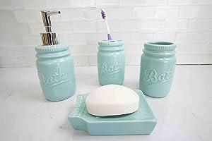 Home Basics 4 Piece Dolomite Mason Jar Bath Bathroom Accessory Set (Mint)