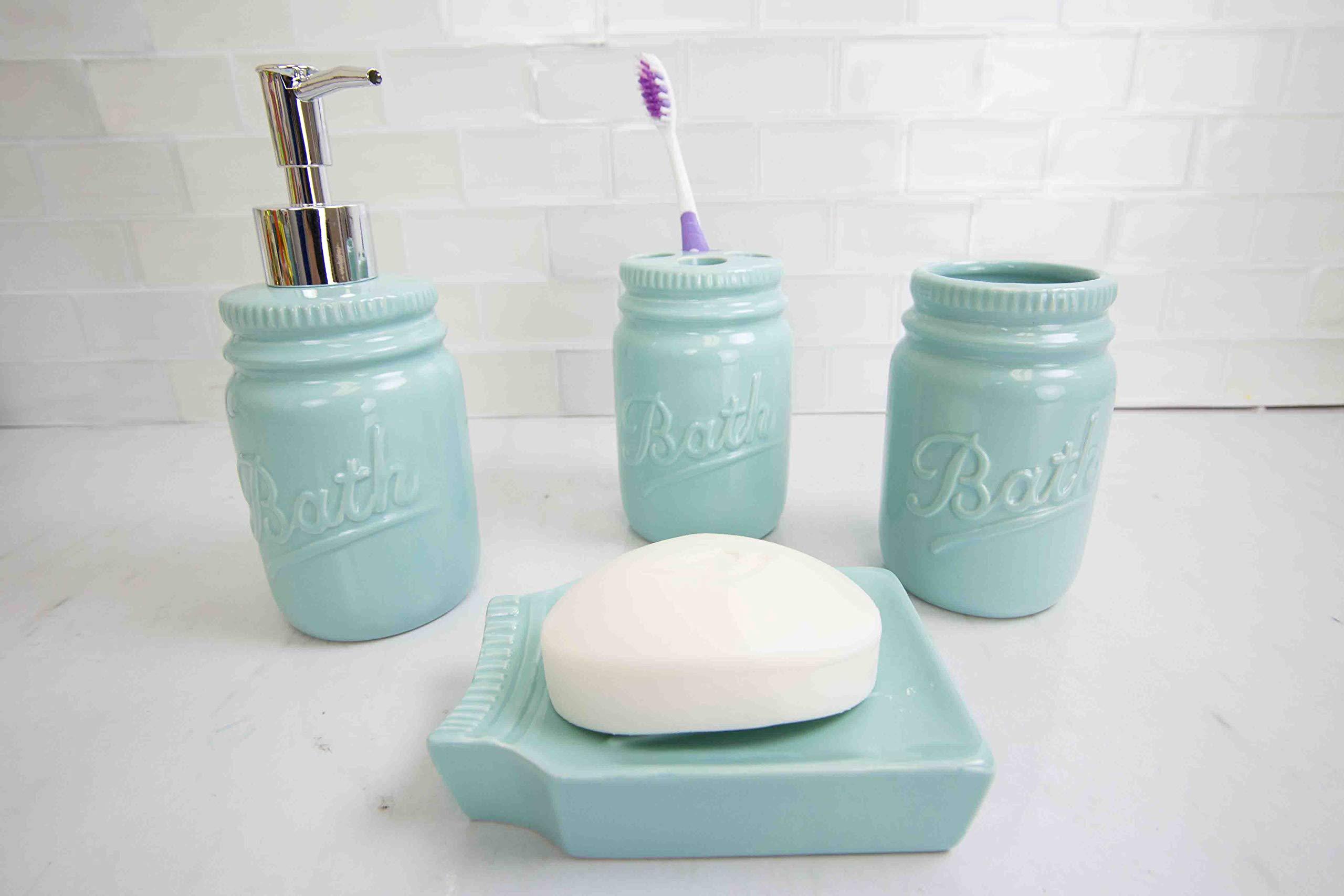 Home Basics Gift & Home Basics Beautiful Rose 4 Pcs Dolomite Mason Jar Durable Bath Accessory Set-Decorative Lotion Dispenser/Dish/Tumbler/Toothbrush Holder Perfect Gift & Decorating Idea, Mint