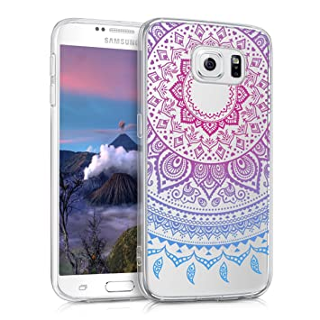 kwmobile Funda para Samsung Galaxy S6 / S6 Duos - Carcasa de TPU para móvil y diseño de Sol hindú en Azul/Rosa Fucsia/Transparente