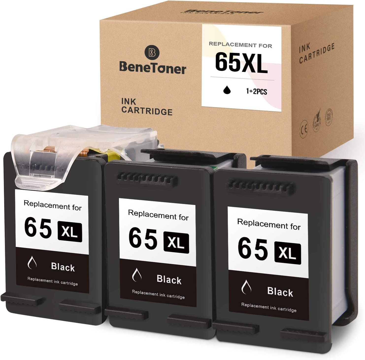 BENETONER Remanufactured Ink Cartridge Replacement for HP 65 65XL Work with Envy 5055 5052 5058 DeskJet 3755 2655 3720 3722 3723 3730 3732 3752 3758 (Print Head+Cartridges, 3 Black)