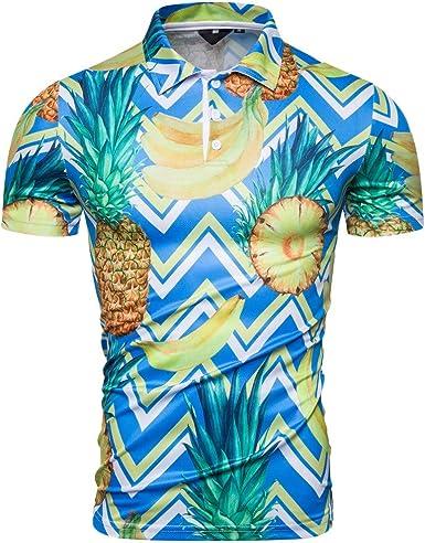 CAOQAO Camisa Hawaiana de Manga Corta para Hombre Patrón de Fruta Tropical: Amazon.es: Ropa y accesorios