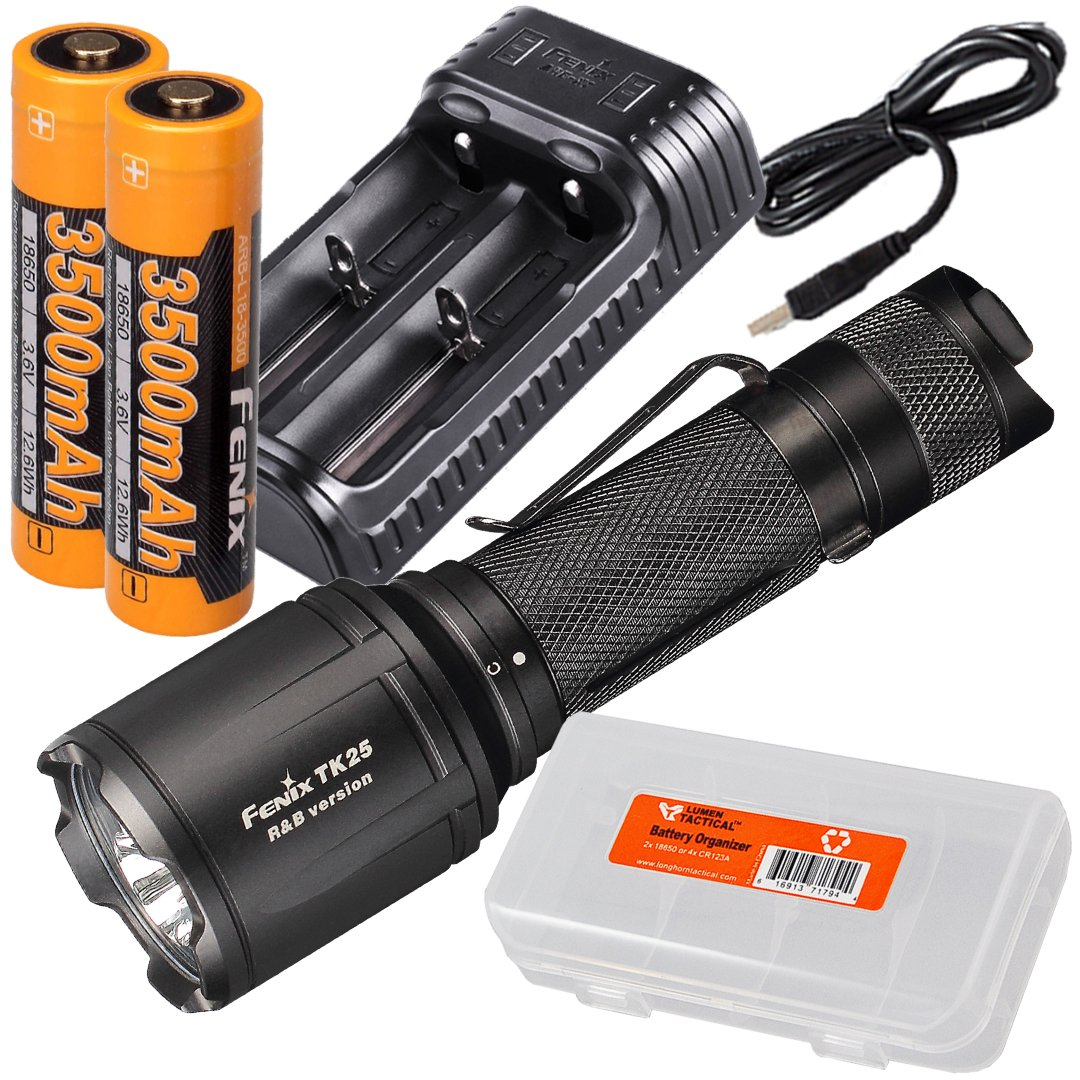 Fenix TK25 R&B 1000 Lumen Multi-Color Red & Blue LED Tactical Hunting Flashlight with 2x Fenix 3500mAh Rechargeable 18650 Batteries, Fenix ARE-X2 Dual-Port Charger, & LumenTac Battery Organizer by Fenix