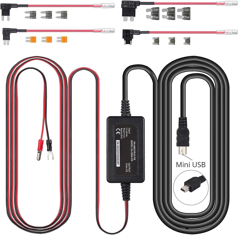 CAMWAY Hard Wire Kit 12-24V Cam Dash del coche para Nextbase 512,512G, 402G, 412,312GW, 302G, 112,212, 312,202, 101 y cámara DUO car Hard Wire Kit 12-24V Car Dash Cam cable