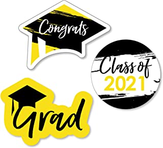product image for Big Dot of Happiness Yellow Grad - Best is Yet to Come - DIY Shaped Yellow 2021 Graduation Party Cut-Outs - 24 Count