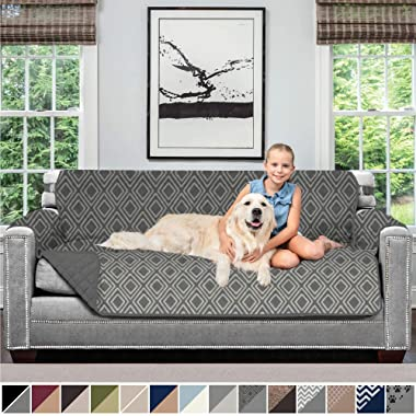 Sofa Shield Original Patent Pending Reversible Sofa Slipcover, Dogs, 2  Strap/Hook, Seat Width Up to 70  Furniture Protector, Couch Slip Cover Throw for Pets, Kids, Cats (Sofa: Diamond/Charcoal)