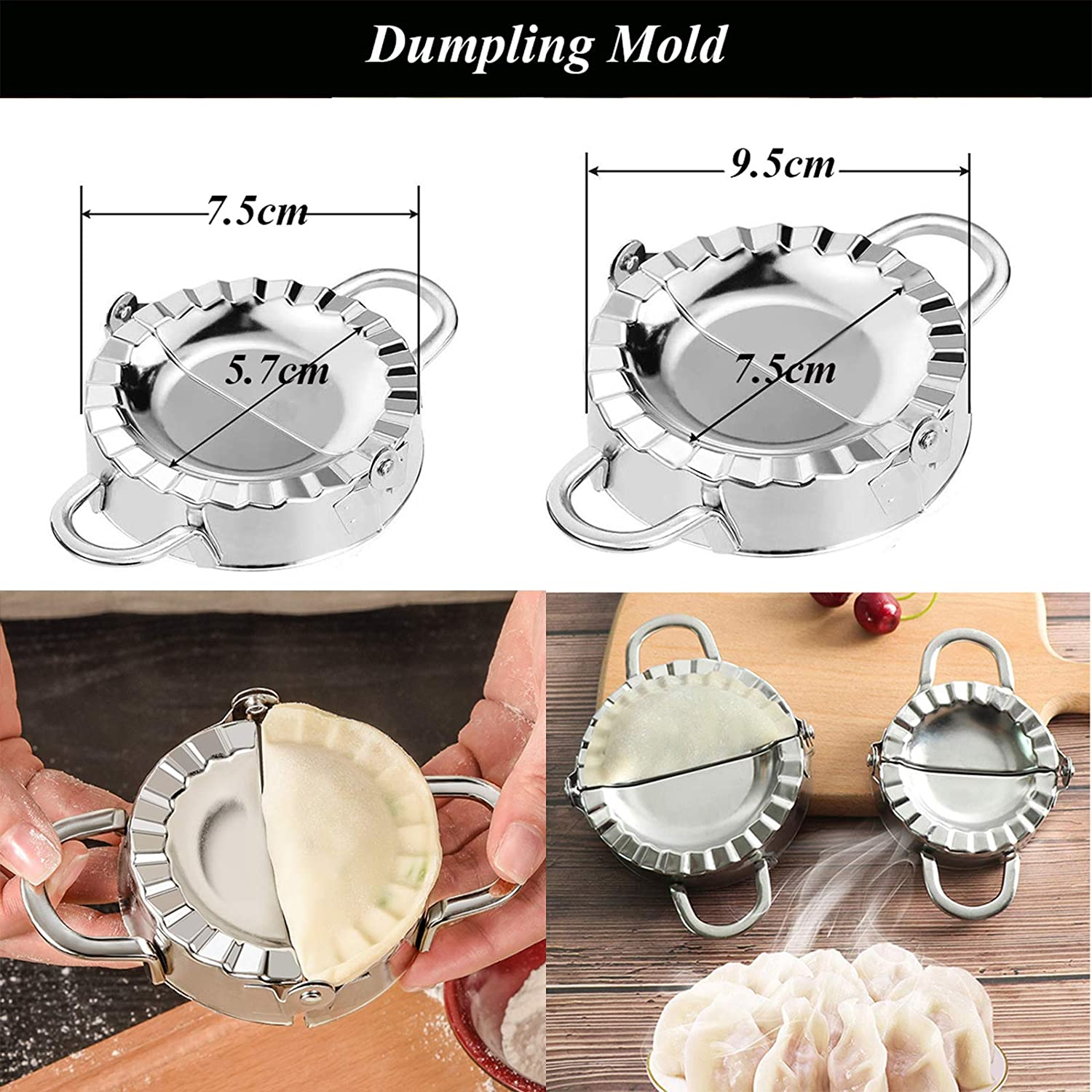 Details about  /Stainless Steel Dumpling Maker Mould Dough Pastry Jiaozi Skin Kitchen Tool Set