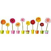 bloempot-raamstickers - 10 afzonderlijke kleurrijke potbloemen-raamstickers met statische hechting als decoratie voor…