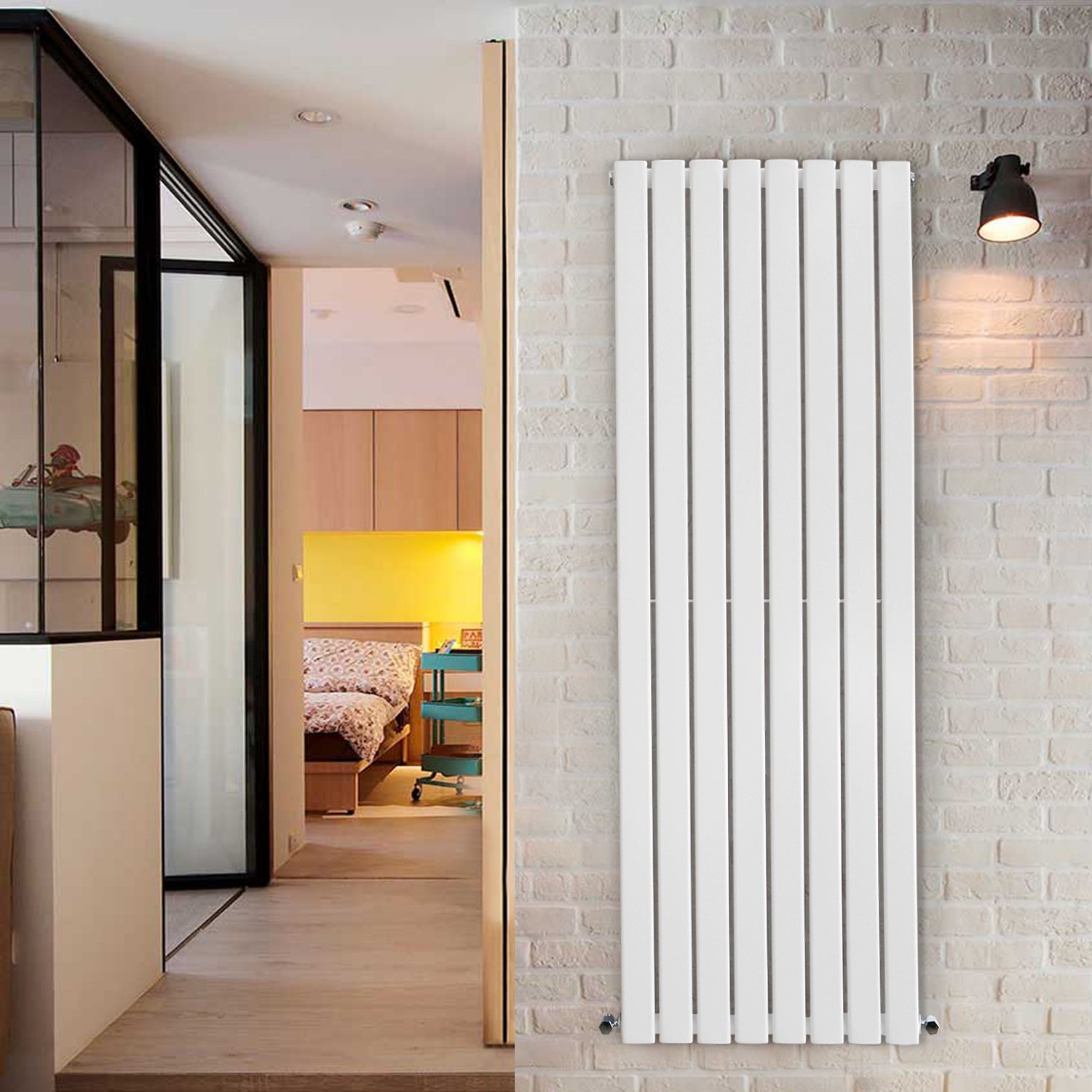 NRG 1800x408 Vertical Column Designer Radiator White Single Flat Panel Manufactured for NRG