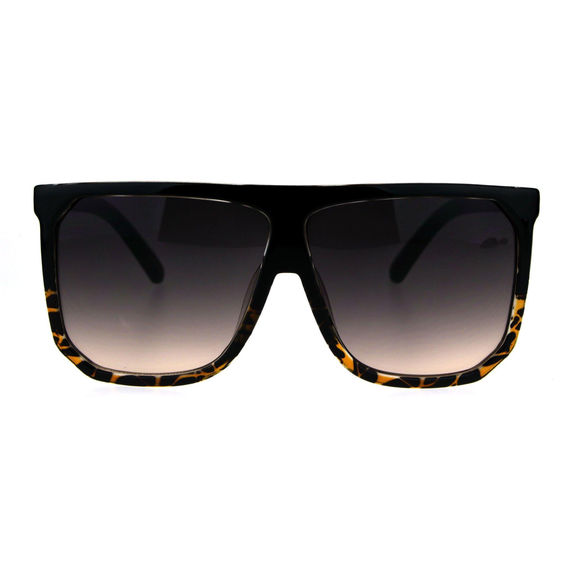 Oversized Style Sunglasses Flat Top Square Modern Fashion UV 400 Black/Tortoise
