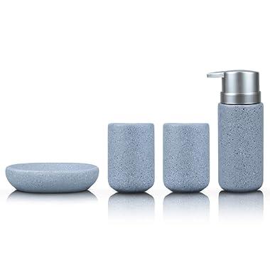 Fimary Grey Bathroom Accessories Set Complete - Bathroom Sets Including 4 Piece Ceramic Bathroom Accessory Set Soap Dispenser, Toothbrush Holder, Tumbler, Soap Dish