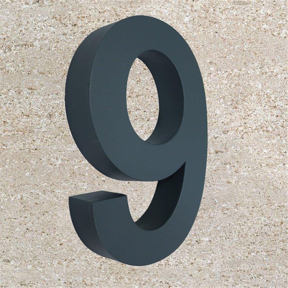 Arial N /° 9 MCTECH/® 3D num/éro de maison design anthracite en acier inoxydable Rev/êtement Arial num/éro de maison num/éro de porte Anthracite