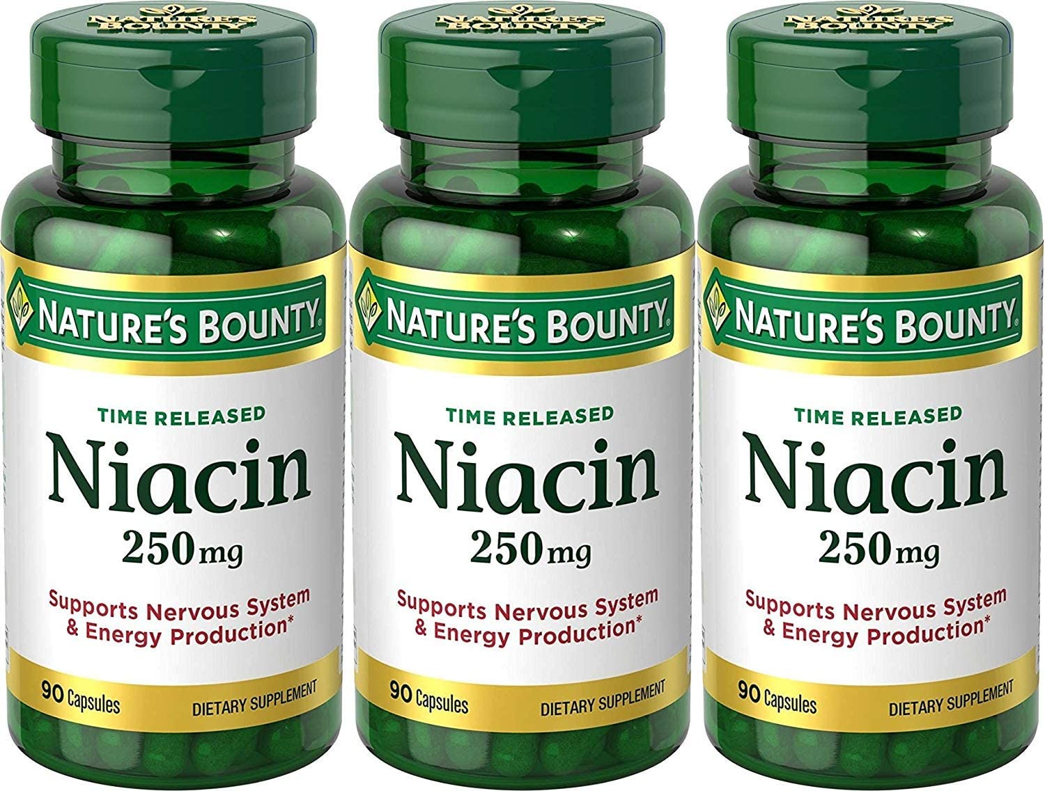 Nature s Bounty Time Released Niacin 250 Mg., 90 Capsules Pack of 3