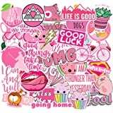 Cute Pink Teen Girl Stickers 42 Pcs for Laptop and Water Bottles, Waterproof Durable Trendy Vinyl Decal Sticker Pack for Hydro Flask, Bicycle, Skateboard, DIY, Luggage, Travel Case (Pink)