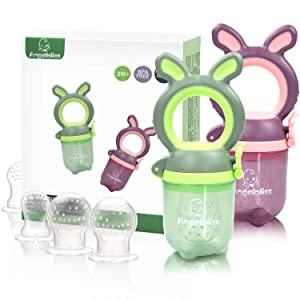 ANGELBLISS Baby Food Fruit Feeder/Pacifier, Organic/Infant Teething Toys for 3-24 Months Toddlers & Kids, 6 Silicone Sacs (Green/Purple 2 Pack) BPA Free, CPC Certified
