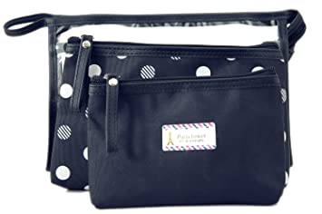 db344196ddab3 Amazon.com : Zhoma 3 Piece Waterproof Cosmetic Bag Set - Makeup Bags And  Travel Case - Navy Blue : Beauty