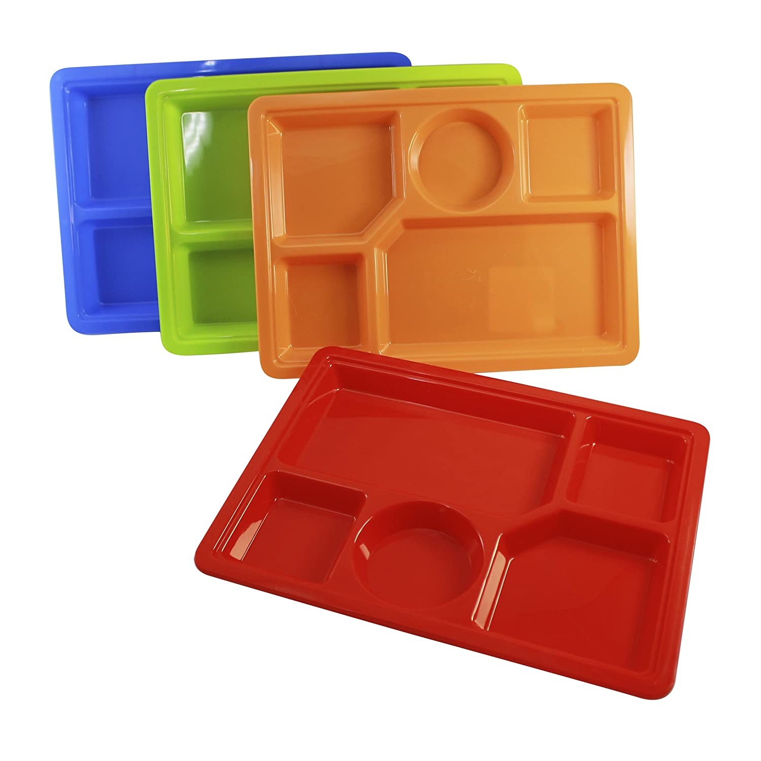 Red Childrens Cafeteria Style Plastic Section Lunch Tray with Matching Plastic Fork and Spoon Set BPA Free Dishwasher Safe Kids Plate Dishes
