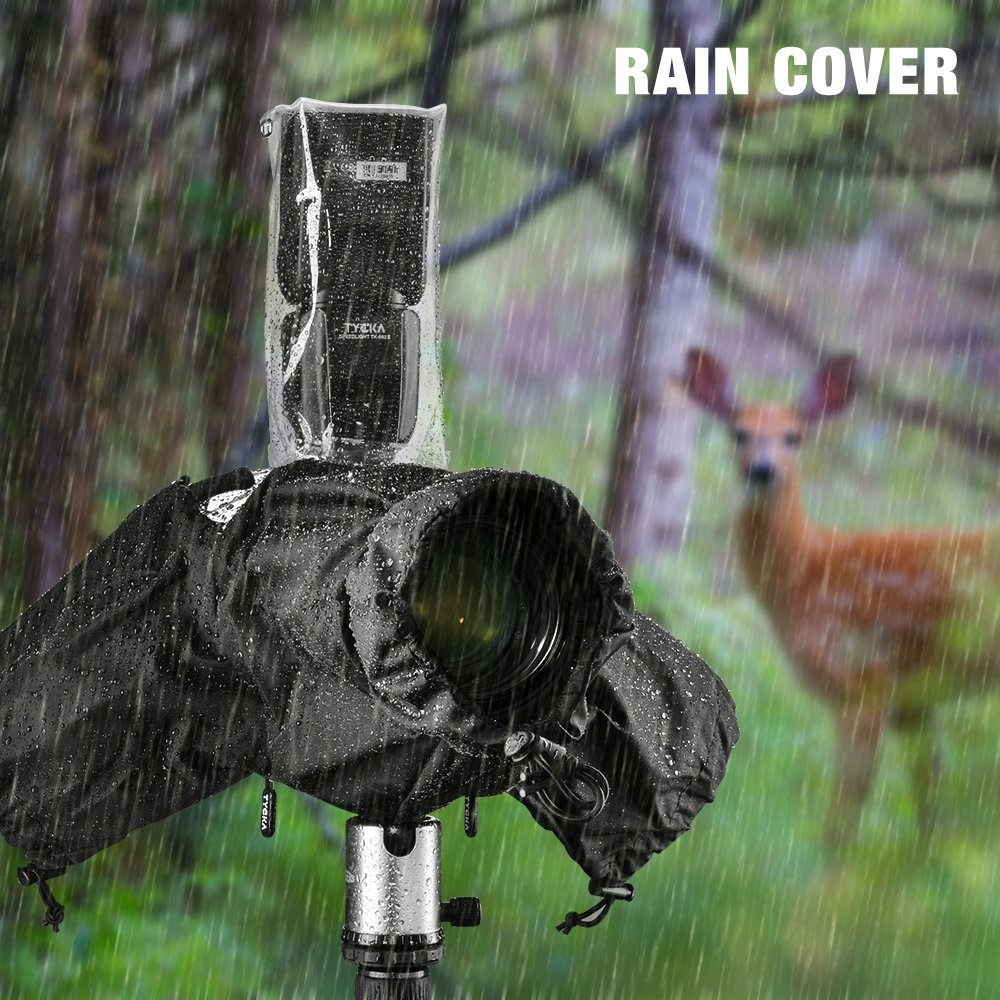 "Tycka Camera Rain Cover, can be connected to camera strap and Flash, with 10pcs Absorbent Paper, Rainproof Raincoat for DSLR Canon Nikon Sony Pentax Olympus and more (Lenses with Hood Up to 10"" Long) by TYCKA"