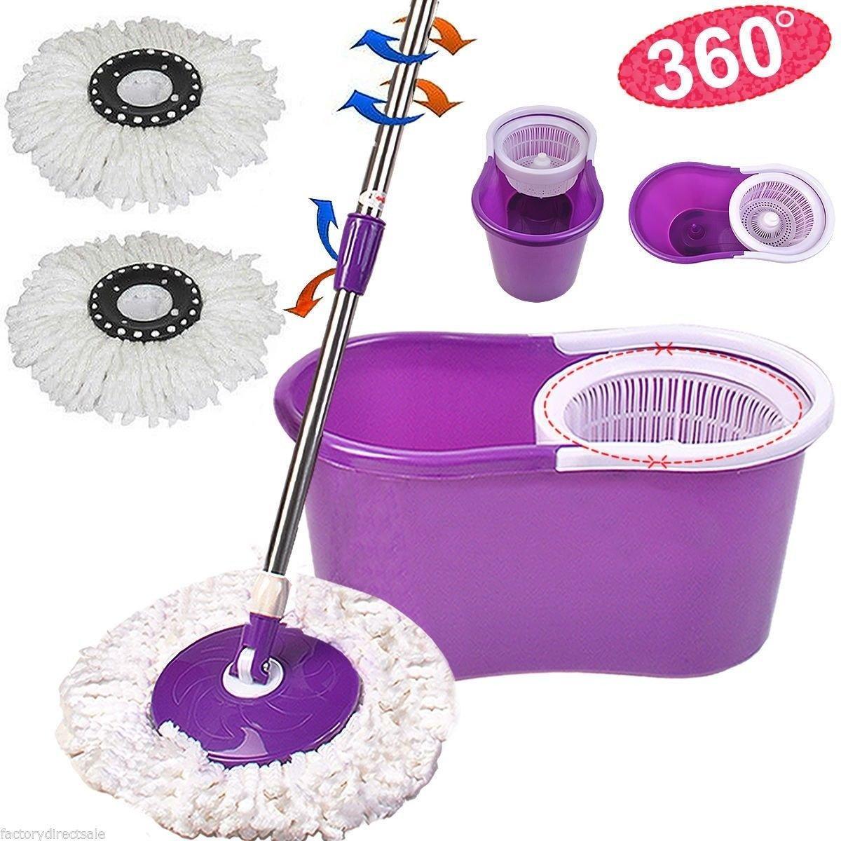 Amazon.com: Easy Magic Floor Mop 360? Bucket 2 Heads Microfiber Spin ...