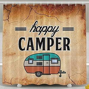 Meet 1998 Happy Camper Camping Waterproof Bathroom Fabric Shower Curtain Bath Curtain,36 X 72 Inch