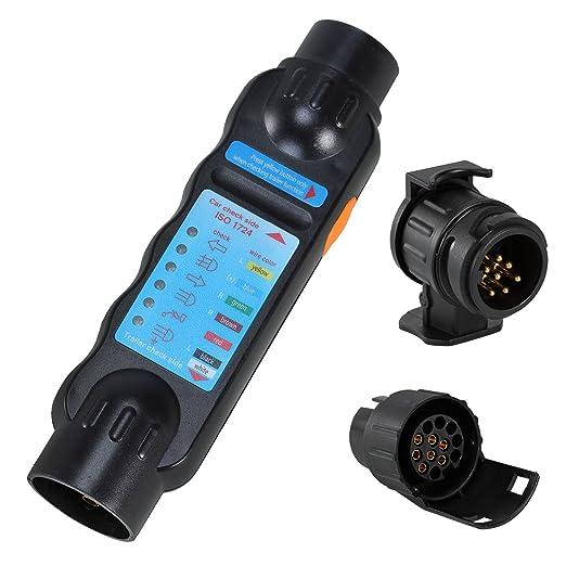 Voilamart Prüf-/Testgerät 7-13 Polig Anhängerbeleuchtung Testen Gerät Messgerät 12V exkl. 9V Batterie Dose Anhängerbeleuchtun