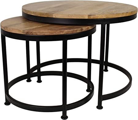 HSM Collection Juego de Mesa Steal Grande Juego de 2, Madera, Natural Top/Negro Metal, 70 x 70 x 46 cm: Amazon.es: Hogar