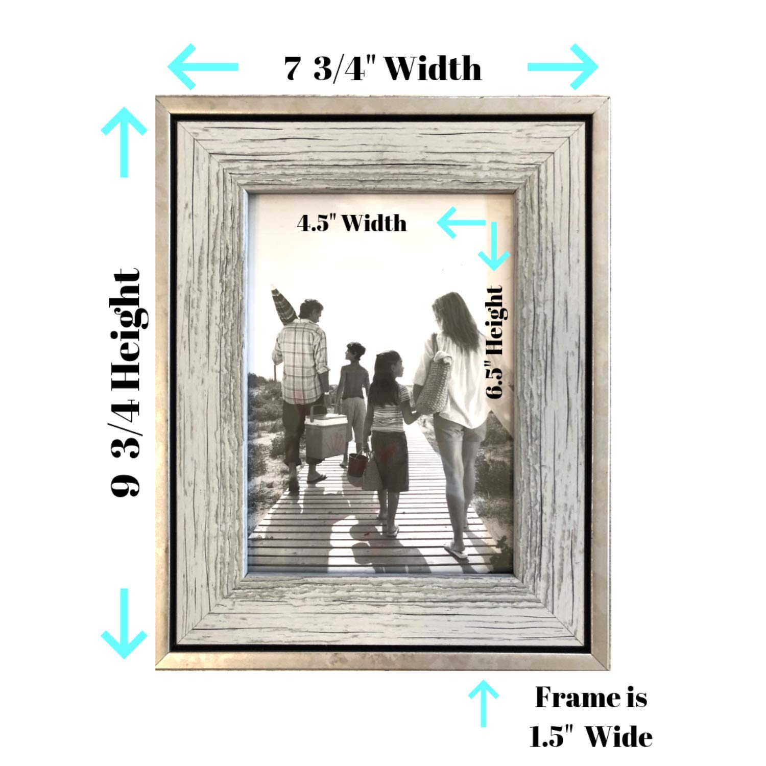 Tasse Verre 5x7 Rustic Frames (3-Pack) - Distressed Farmhouse Industrial Frame - Ready to Hang or Stand - Built-in Easel - Silver Galvanized Metal Look with Wood Insert by Tasse Verre (Image #2)