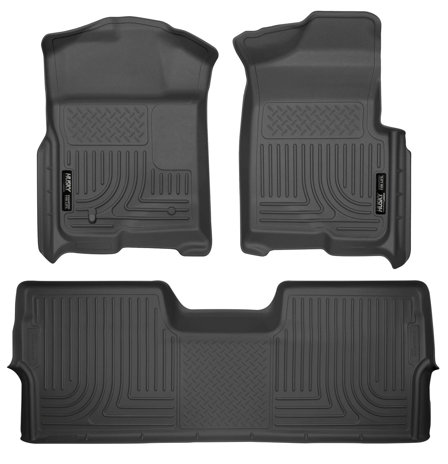 Husky Liners 98331 Black Fits 2009-14 Ford F-150 SuperCrew without Manual Transfer Case Shifter Weatherbeater Front & 2nd Seat Floor Liners (Footwell Coverage)