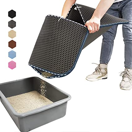 kaxionage Cat Litter Mat Litter Trapping Mat 30 X 24 Inch Easy Clean Scatter Control Honeycomb Double-Layer Design Waterproof Urine Proof Material