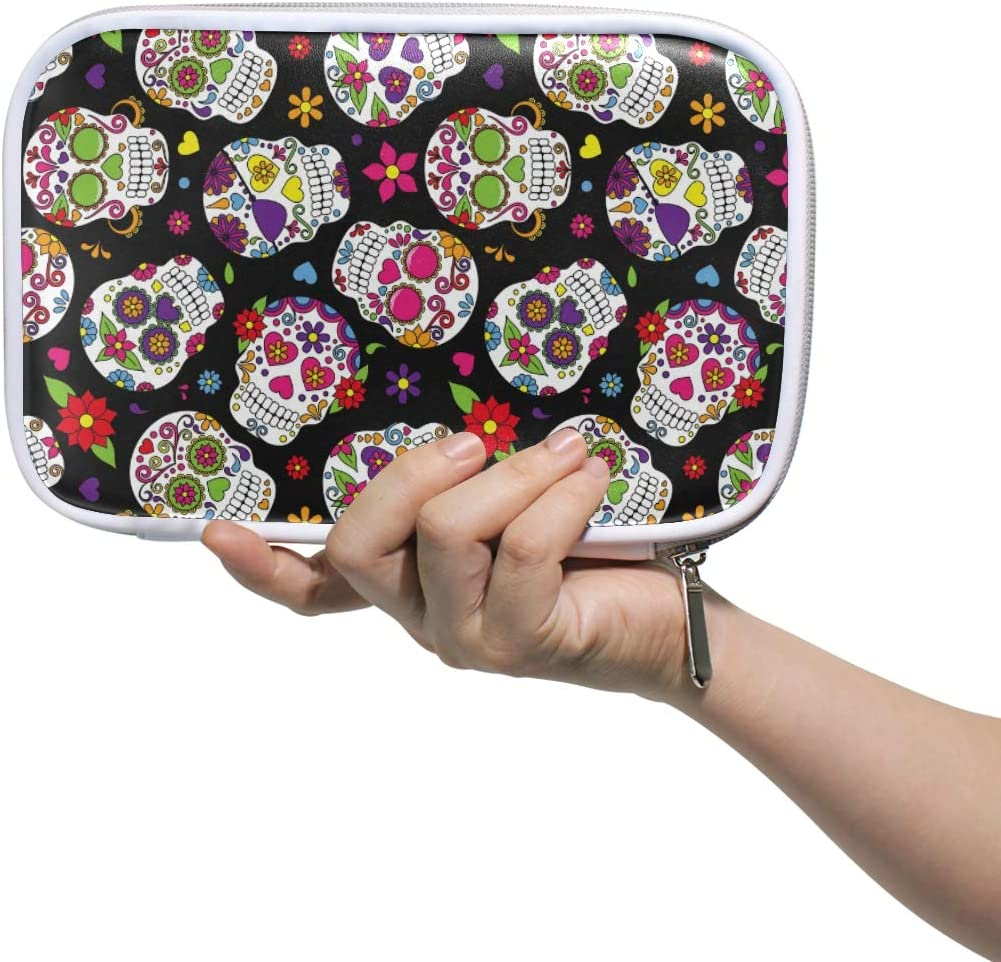 Kcldeci Sugar Skull Pencil Bag Pen Case Skeleton Day of The Dead Pencil Pouch Cosmetic Makeup Bags Pen Holder Stationery Bag Box Organizer Travel Toiletry Bags for Women Supplies Office