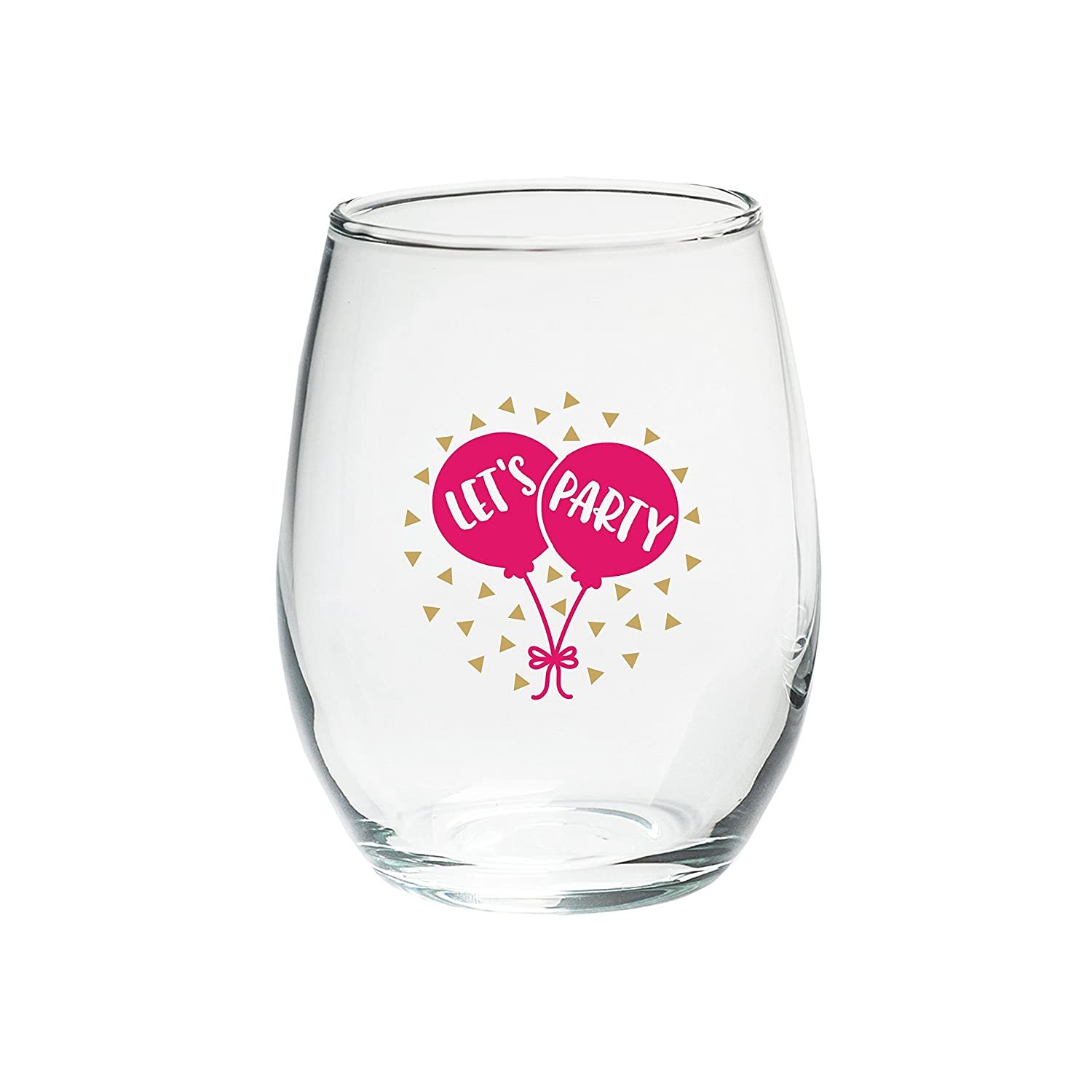 c870a37b644 Kate Aspen 30023NA-LP Let's Party 15 oz. Stemless (Set of 4) Wine Glasses  Clear