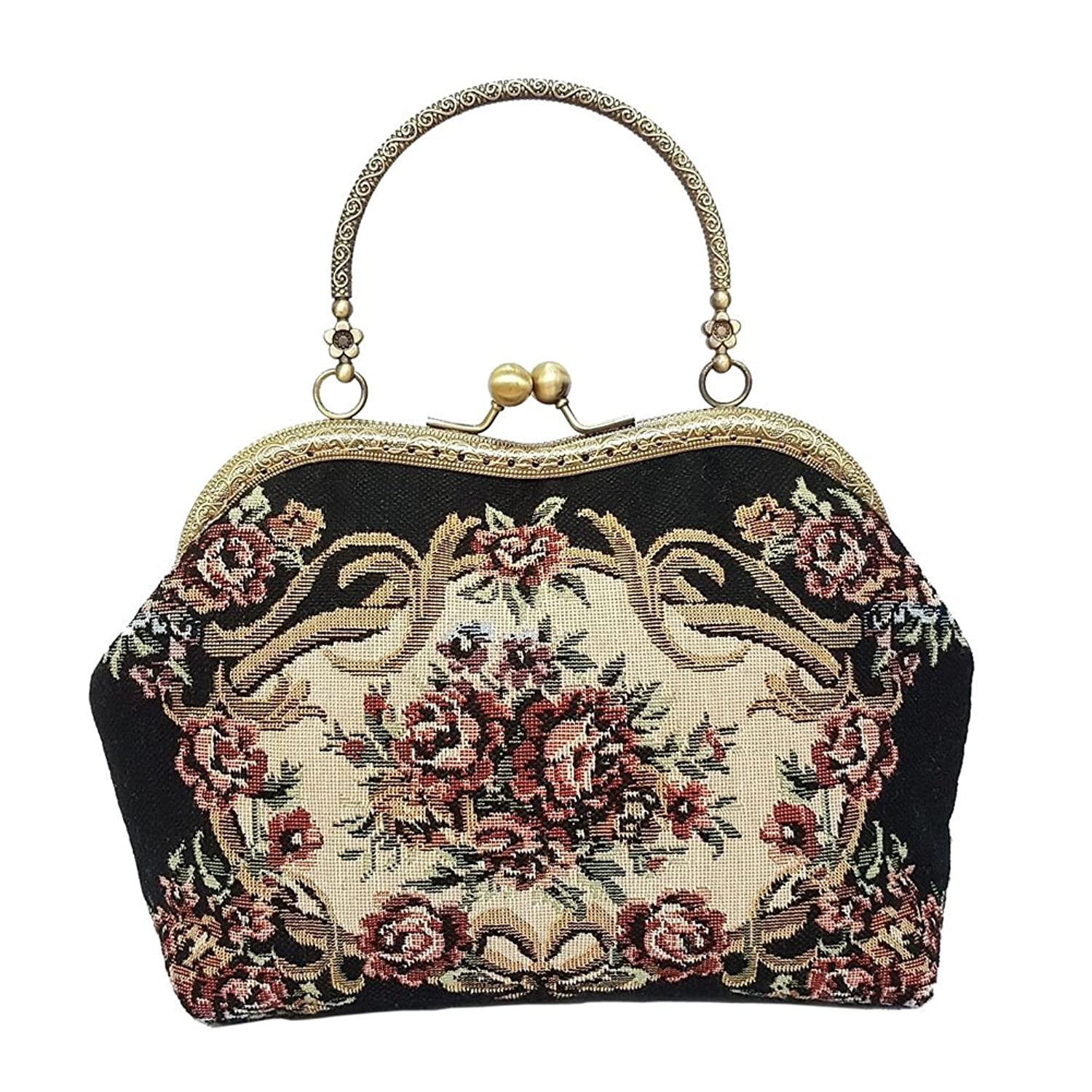 Vintage Victorian Flowers Print Kiss Lock Bags Wedding Clutch Purse Party Handbag $33.99 AT vintagedancer.com