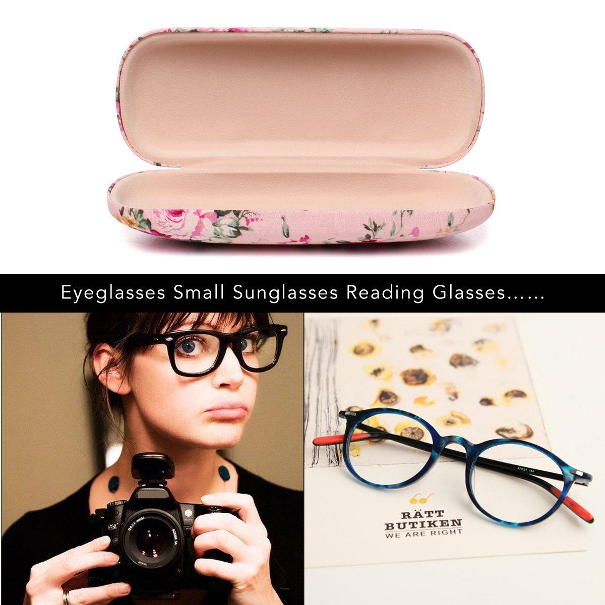 EZESO Fabrics Floral Retro Light Portable Eyeglasses Case (2 pcs blue+pink) by Ezeso (Image #9)