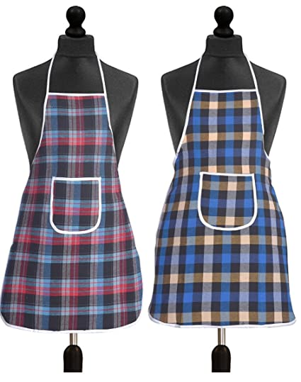Yellow Weaves™ Check Design Waterproof Cotton Kitchen Aprons (Pack of 2)