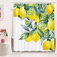 Cortina de ducha de limón para baño, cortina de ducha con diseño de hojas verdes, cortina de ducha con 12 ganchos (175,3…