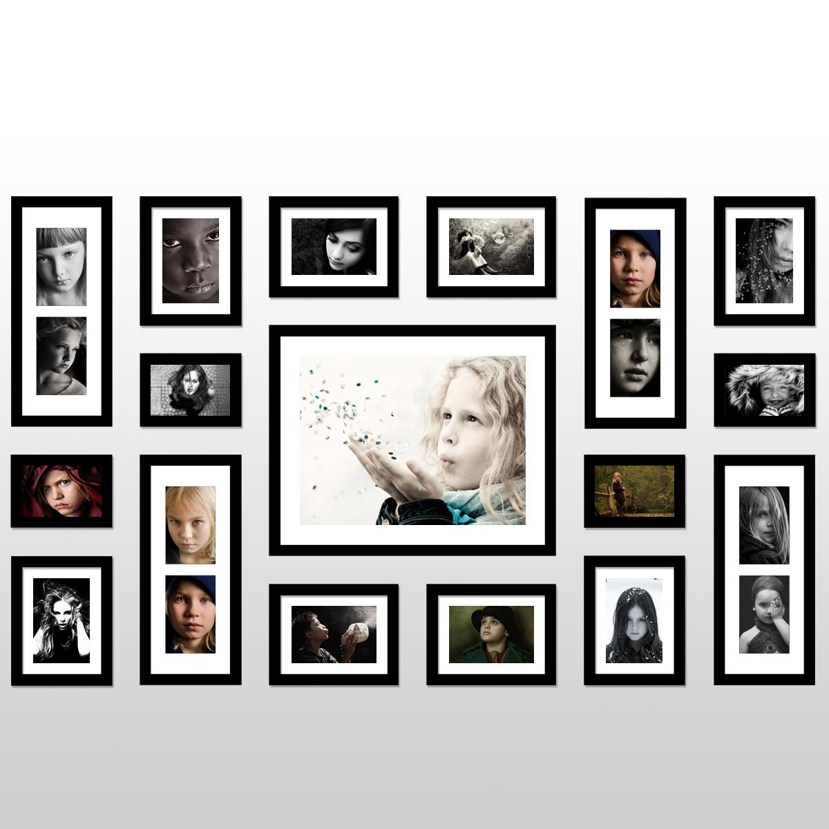 Amazon.com   Yanksmart Wall Hanging Art Home Decor Modern Gallery 17 Piece  Wood Multi Piece Photo Frame Set . Black X547S