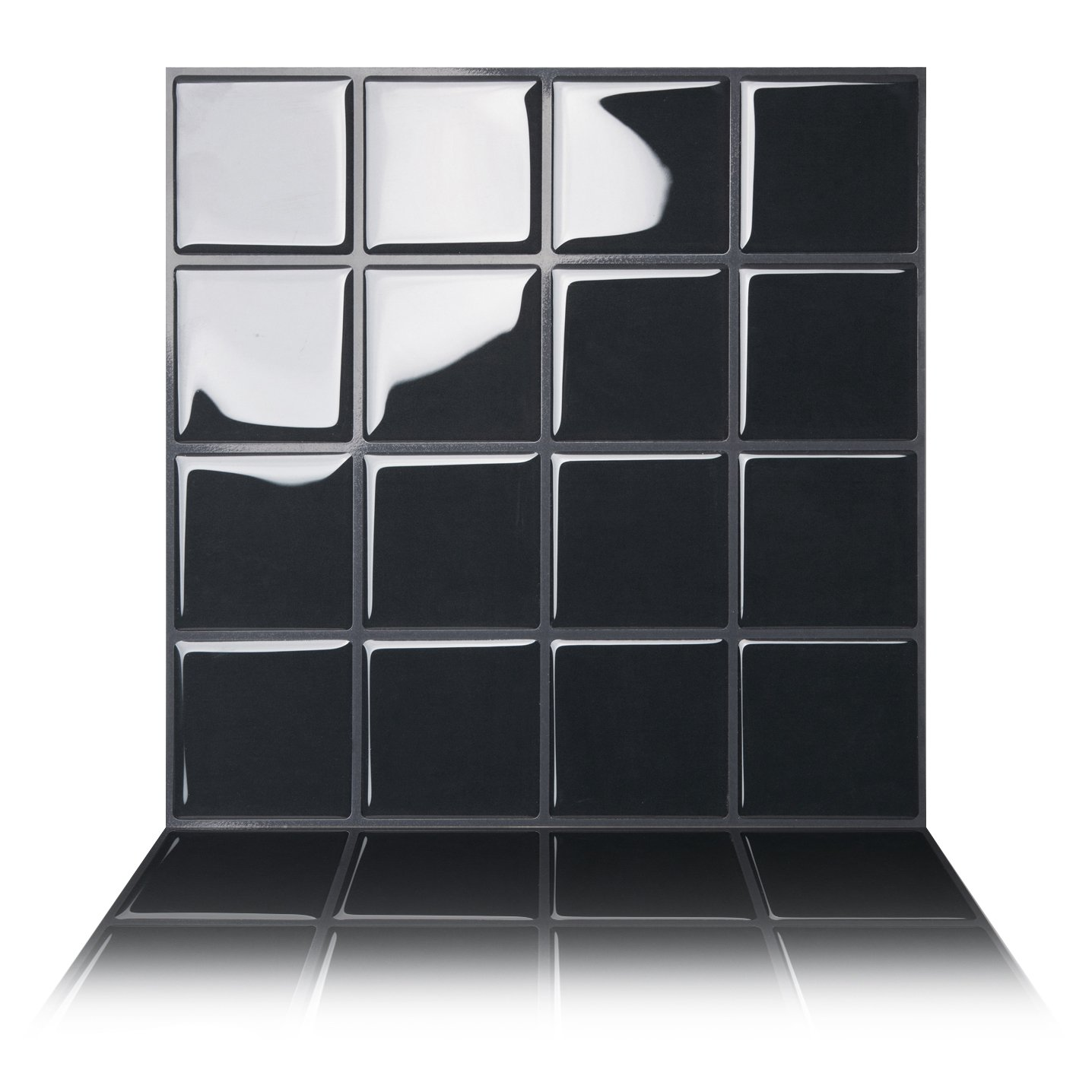 5 Premium Anti-mold Peel and Stick Wall Tiles in Big Square Black Tic Tac Tiles/®