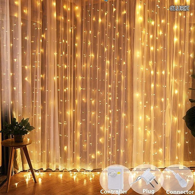 Cortina de luces LED Gloriz 3 3M 300LEDs luz led lampara lluminación de decoración al aire libre con 8 modelos de lluminación impermeable IP54 par