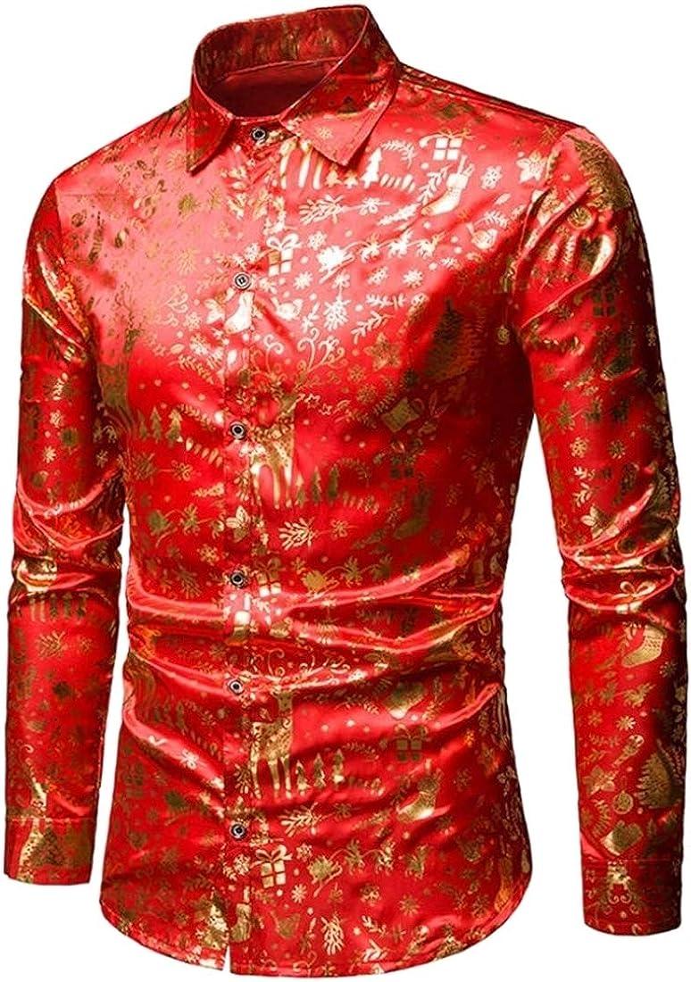 Fubotevic Mens Christmas Elk Slim Lapel Collar Vogue Long Sleeve Button Down Blouse Shirt